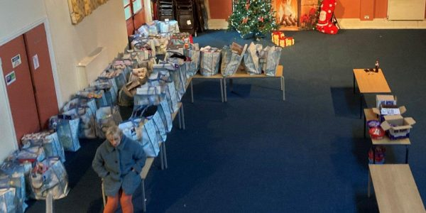 Christmas bags in hall